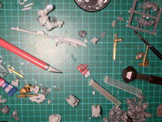 A messy hobby desk